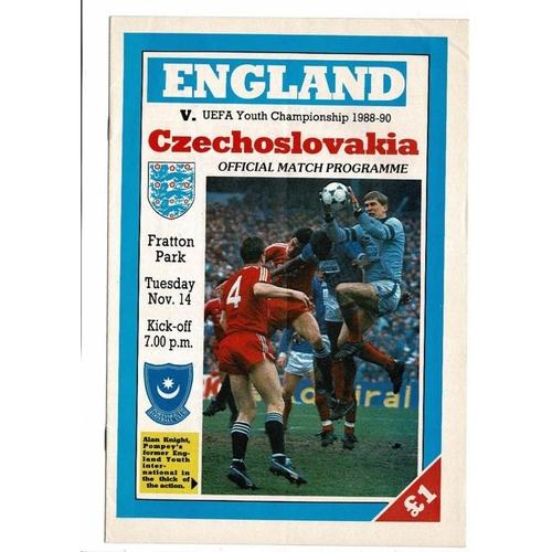 1989 England v Czechoslovakia Youth International Football Programme