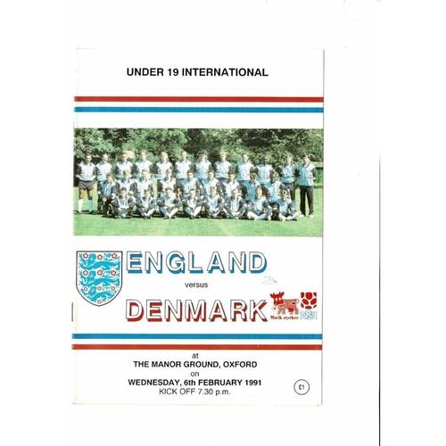 1991 England v Denmark Youth International Football Programme