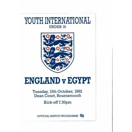1992 England v Egypt Youth International Football Programme