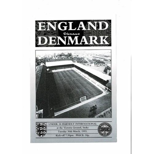 1993 England v Denmark Youth International Football Programme