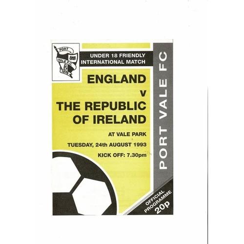 1993 England v Republic of Ireland Youth International Football Programme