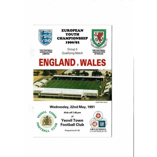 1991 England v Wales Youth International Football Programme