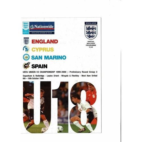1999 England v Cyprus, San Marino & Spain U18 Youth UEFA Championship Programme