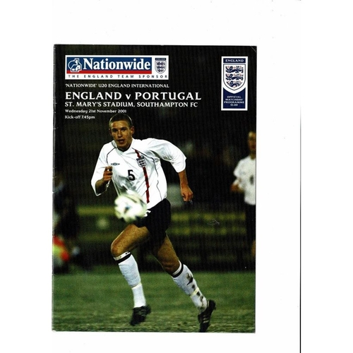 2001 England v Portugal Youth International Football Programme