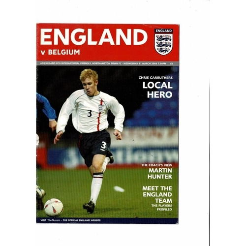 2004 England v Belgium Youth International Football Programme