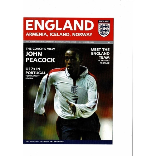 2004 England v Norway, Iceland & Armenia Youth International Football Programme