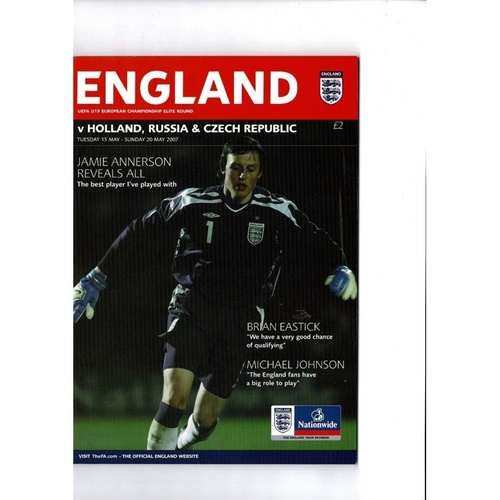 2007 England v Holland Russia & Czech Rep Youth International Football Programme