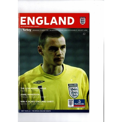 2007 England v Turkey Youth International Football Programme