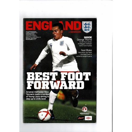 2011 England v Denmark Youth International Football Programme