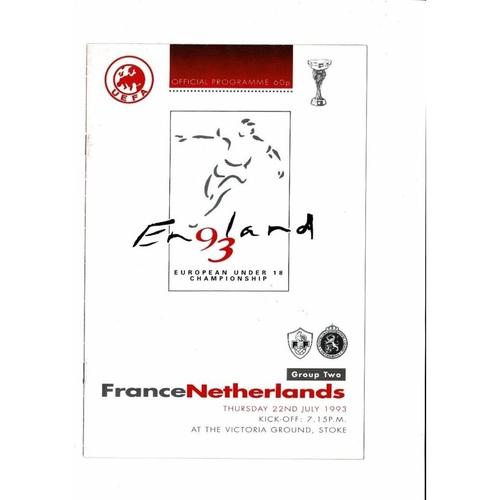 1993 France v Holland Youth International Football Programme