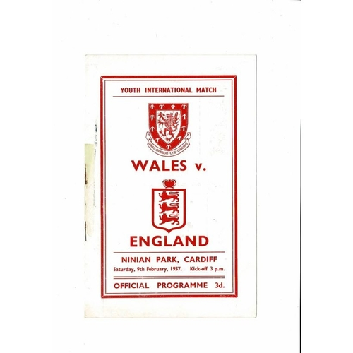 1957 Wales v England Youth International Football Programme