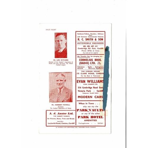 1957 Wales v England Youth International Football Programme