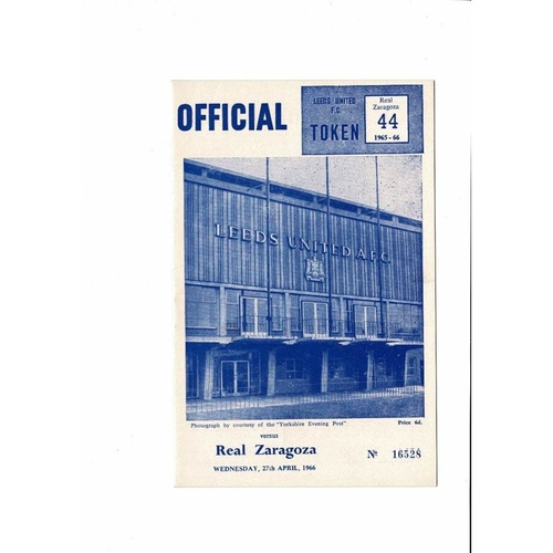 1966 Leeds United v Real Zaragoza UEFA Fairs Cup Semi Final Football Programme April