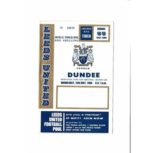 1968 Leeds United v Dundee UEFA Fairs Cup Semi Final Football Programme