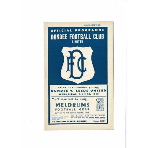 1968 Dundee v Leeds United UEFA Fairs Cup Semi Final Football Programme