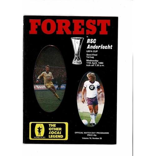 1984 Nottingham Forest v Anderlecht UEFA Fairs Cup Semi Final Football Programme
