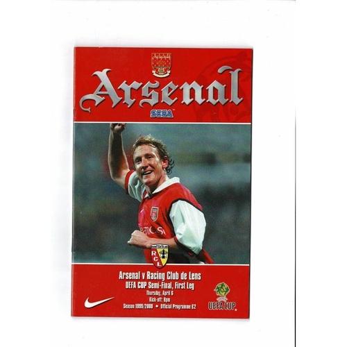 2000 Arsenal v Racing Club de Lens UEFA Fairs Cup Semi Final Football Programme