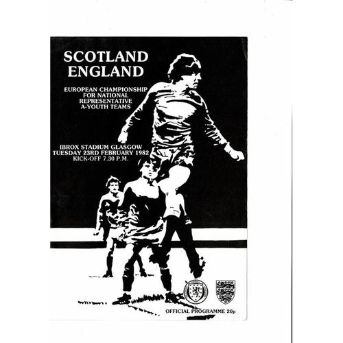 1982 Scotland v England Youth International Football Programme Feb