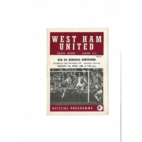 1966 West Ham United v Borussia Dortmund European Cup Winners Cup Semi Final Football Programme