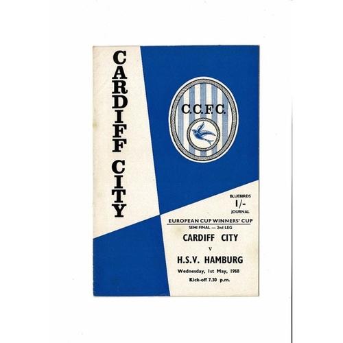 1968 Cardiff City v Hamburg European Cup Winners Cup Semi Final Football Programme