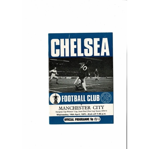 1971 Chelsea v Manchester City European Cup Winners Cup Semi Final Football Programme