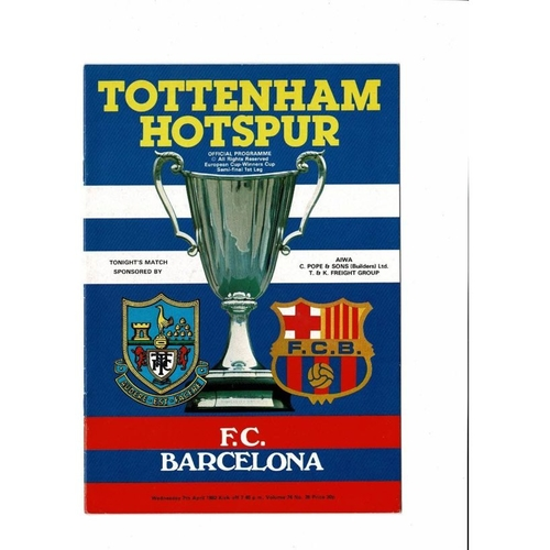 1982 Tottenham Hotspur v Barcelona European Cup Winners Cup Semi Final Football Programme