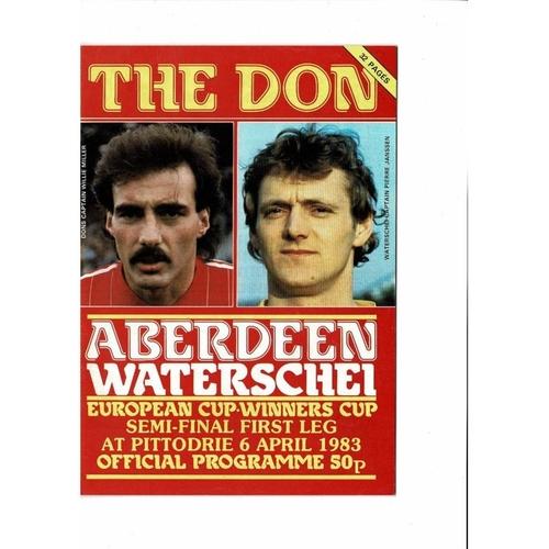 1983 Aberdeen v Waterschel European Cup Winners Cup Semi Final Football Programme