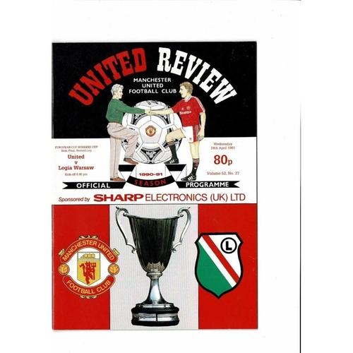 1991 Manchester United v Legia Warsaw European Cup Winners Cup Semi Final Football Programme