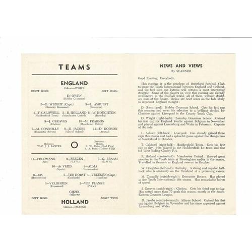 1957 England v Holland Youth International Football Programme