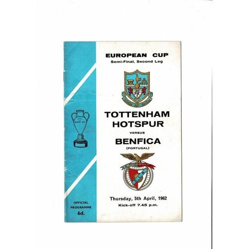 1962 Tottenham Hotspur v Benfica European Cup Semi Final Football Programme