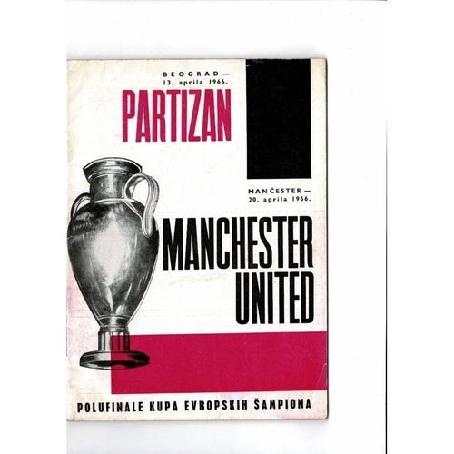 1966 Partizan v Manchester United European Cup Semi Final Football Programme