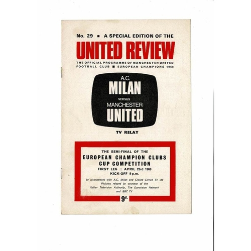 1969 AC Milan v Manchester United European Cup Semi Final TV Relay Programme