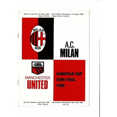 1969 AC Milan v Manchester United European Cup Semi Final Football Programme