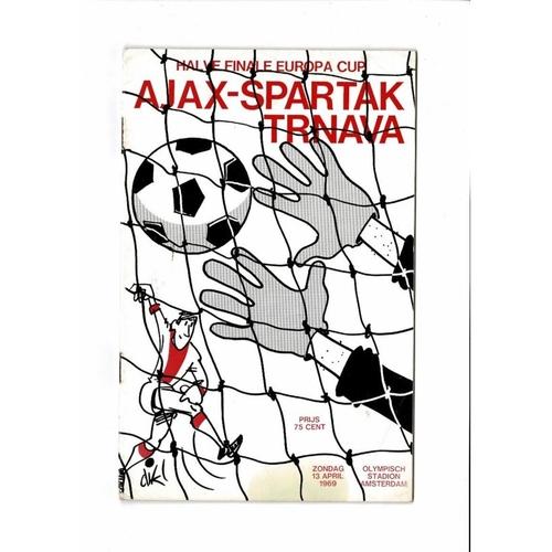 1969 Ajax v Spartak Trnava European Cup Semi Final Football Programme