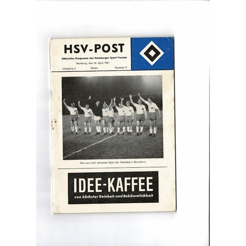 1961 Hamburg v Barcelona European Cup Semi Final Football Programme