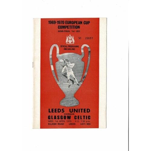 1970 Leeds United v Celtic European Cup Semi Final Football Programme