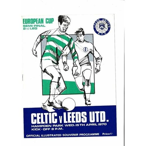 1970 Celtic v Leeds United European Cup Semi Final Football Programme