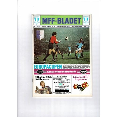 1979 Malmo v Austria Memphis European Cup Semi Final Football Programme