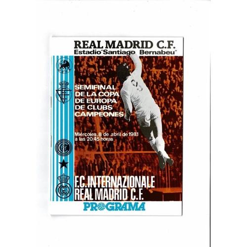 1981 Real Madrid v Inter Milan European Cup Semi Final Football Programme