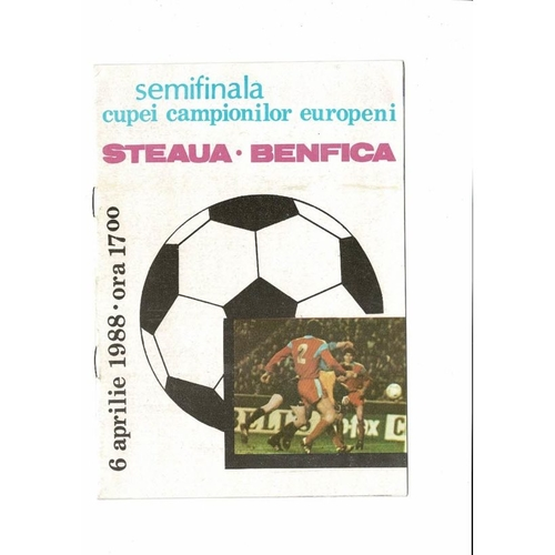 1988 Steaua v Benfica European Cup Semi Final Football Programme