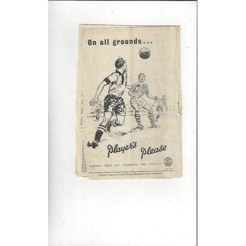 1951/52 Notts County v Doncaster Rovers Football Programme