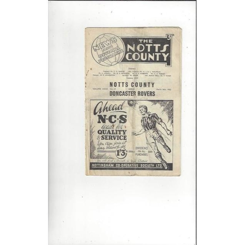 1952/53 Notts County v Doncaster Rovers Football Programme