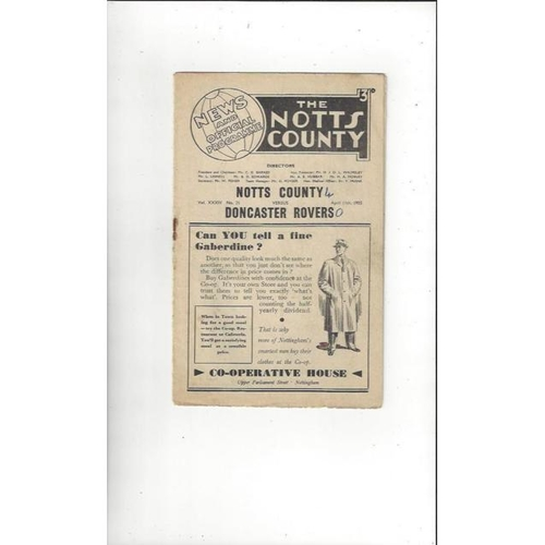 1954/55 Notts County v Doncaster Rovers Football Programme
