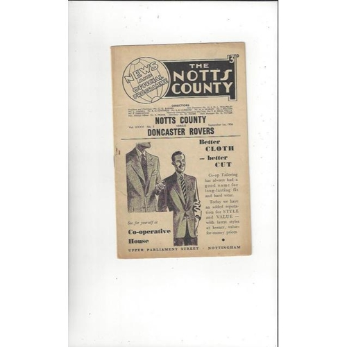 1956/57 Notts County v Doncaster Rovers Football Programme