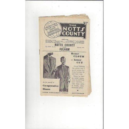 1956/57 Notts County v Fulham Football Programme + Press cuttings