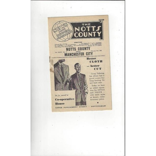 1956/57 Notts County v Manchester City Friendly Football Programme
