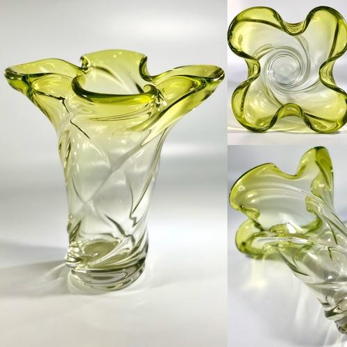 Stunning green fade quatrefoil French crystal vase