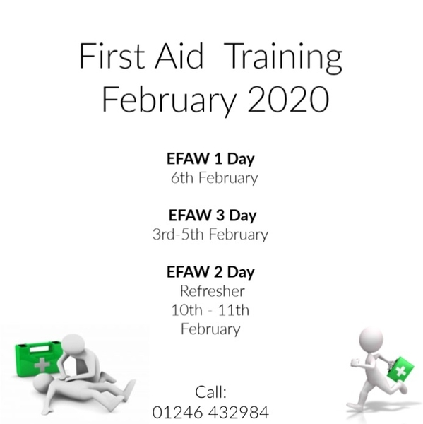 First Aid Training dates February 2020