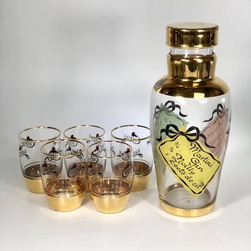 1950s glass cocktail recipe shaker and tumblers