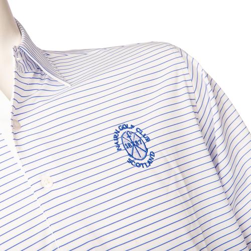 Donald Ross DR645A:  Self Collar Shirt - White/Atlantic